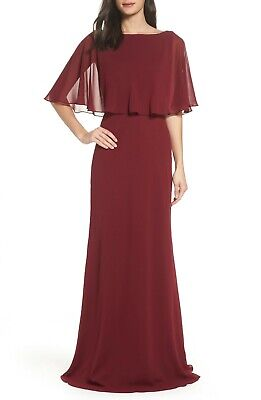 b10651ad NEW LA FEMME 25204 Garnet Red Popover Overlay Cape Capelet Chiffon A-Line  Gown 4