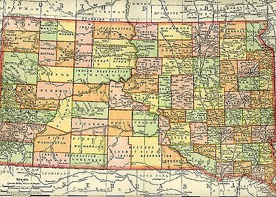 Original 1895 Antique Map SOUTH DAKOTA Brookings Rapid City Sioux Falls Huron SD