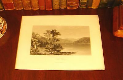 Original 1874 Antique LAKE GEORGE New York NY Steel Engraved Panoramic Map Print