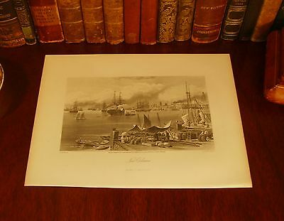 Original 1874 Antique BOSTON Massachusetts MA Steel Engraved Panoramic Map Print