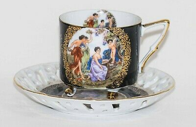 Vintage Tea Cup B Royal Halsey Grecian Japan Floral Cherub Lipper And Mann