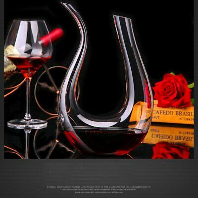 @_Crystal Clear Glass U-Shaped Horn Wine Decanter Red Wine Pourer Container