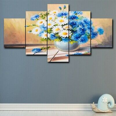 5Pcs Vintage Flower Vase Canvas Painting Wall Picture Modern Home Decor Poster