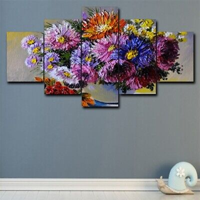 Colorful Flower Vase Canvas Oil Painting Wall Art Modern Home Decor Poster 5Pcs