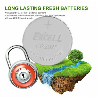EXCELL 5x 3V CR2025 Lithium Coin Cell Button Battery for Toys Remote Battery PN