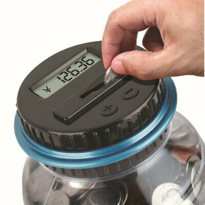 Large Piggy Bank Counter Electronic Digital LCD Counting Coin Saving Box Jar@+