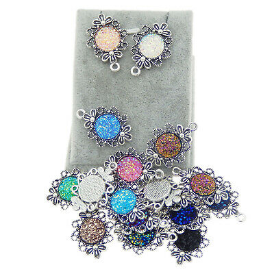 10pcs Silver Alloy Flower Tray Resin Bases Pendants Charms Jewelry Accessories