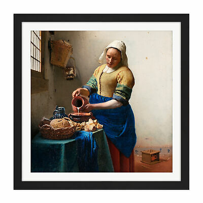 Johannes Vermeer Het Melkmeisje Square Framed Wall Art 16X16 In