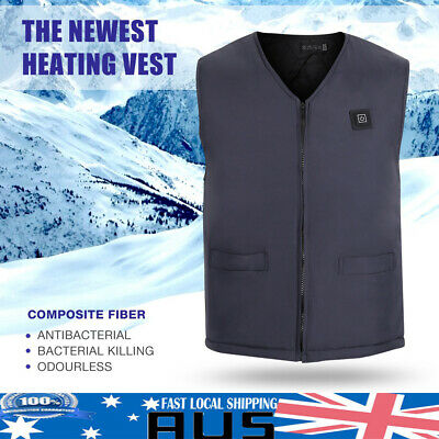 Mens Womens Electric Heated Vest Built-in Rechargeable Heating Coats Snowwear AU