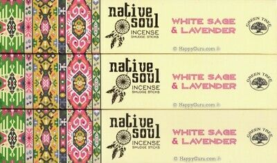 """White Sage & Lavender"" 3 Packets Green Tree Incense Smudge Sticks Native Soul"