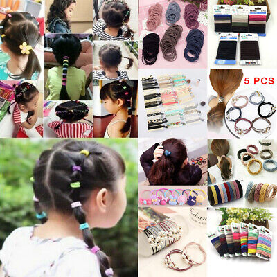 Lots Girl Elastic Rubber Hair Ties Band Rope Ponytail Holder Resilience Seamless