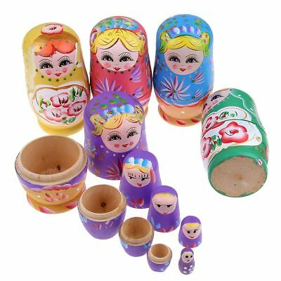 5Pcs Cute Babushka Nesting Dolls Matryoshka Wooden Russian Painted Doll Toys AU
