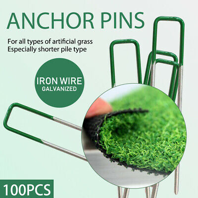 100PCS Lawn Tent Anchor U Pegs Weed Mat Fastening Turf Pins Nail Grass Synthetic