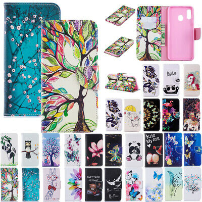 For Samsung A20 A30 A50 M20 Patterned Magnetic Leather Wallet Stand Case Cover