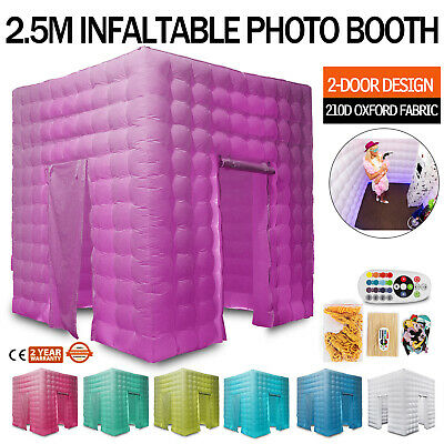 2 Door Inflatable LED Air Pump Photo Booth Tent Colorful Proms Oxford Fabric