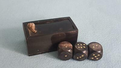 1800s Georgian Gamblers Horn & Sterling Silver Dice Box w 3 Matching Horn Dice