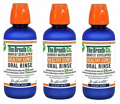 3 x The Breath Co Healthy Gums Oral Rinse 500 ml, Clean Mint (Bad Breath) 3 PACK