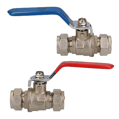 2pk 15mm Lever Ball Valve Blue & Red Handle Brass Compression Fitting Shut-off