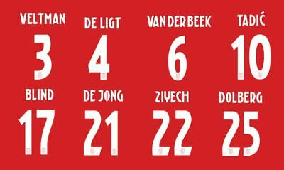 Ajax 2018-2019 Home Football Shirt Nameset Choose a Player or Your Own