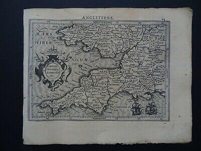 1608 HONDIUS  Mercator Atlas map  CORNWALL - DEVON - SOMERSET - England - Wales