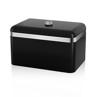 Bread Bins Tireless Bread Bin Stainless Steel Kitchen Storage Black Rose Gold Lid Roll Top