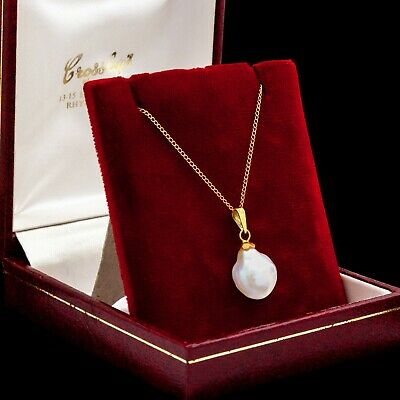 Antique Vintage Art Deco 14k Yellow Gold Freshwater Pearl HUGE Charm Necklace