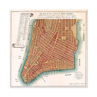 Map Antique 1807 Bridges New York City Plan Replica Large Wall Art Print Square