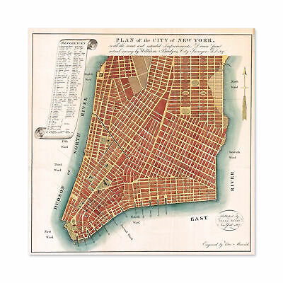 Map Antique 1807 Bridges New York City Plan Replica Wall Art Canvas Print 24X24