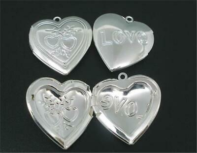 P098...PACK OF 3 SILVER PLATED HEART SHAPED LOCKETS- 30mm