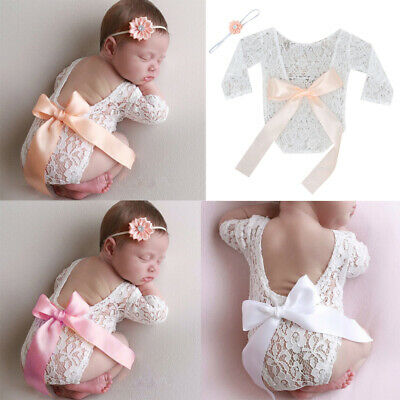 Newborn Infant Baby Girls Floral Lace Romper Bodysuit Jumpsuit Clothes Outfits