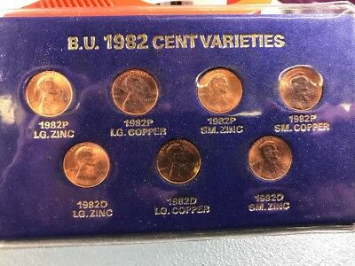 1982 7 VARIETY Zinc & Copper Small & Large Date Lincoln Cents 7 Coins