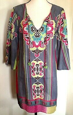6164bf5689 PEPPERMINT BAY Womens Tunic Top Cotton Gray Multi Floral Beaded Tassels Sz  Med