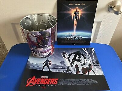 AMC Marvel Avengers Endgame IMAX Poster Collectible Tin Can & Captain Marvel