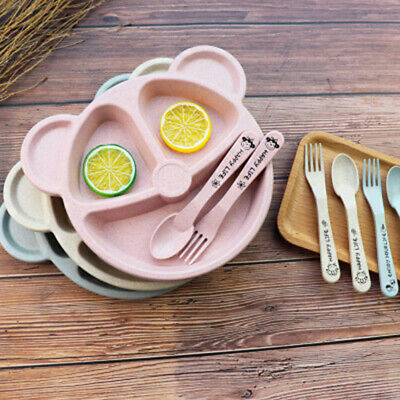 Baby Plate Set Baby Cutlery Dishes Cartoon Babies Brand New Hot High Quality