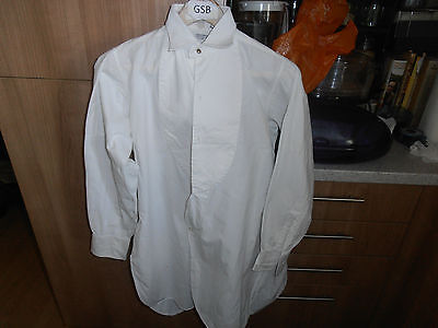 "Vtg Thomas Wing   Collarless Marcella Dress Shirt sz 14 "" Cw  Collar"
