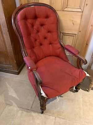 Victorian Carved Solid Mahogany Cabriole Leg Armchair Side Chair For Recovering