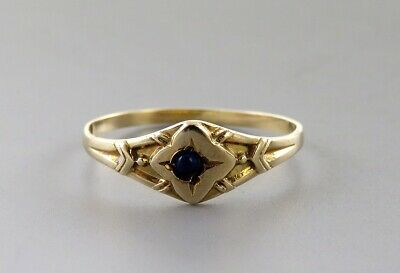 Antique Victorian/Edwardian 10K Yellow Gold Sapphire Gemstone Baby or Child Ring