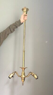 Antique Vtg Arts Crafts Restored Mission Victorian Brass Hanging Light Fixture