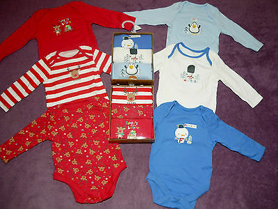 BNWT Gift Boxed Set Baby Girls Boys 3 x Bodysuits Vests Mouse Penguin Pack