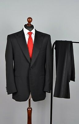 d05cbcc55ab CANALI Solid Black Wool Mohair 1Btn Dinner Tuxedo Suit 52 42 R W32 L32 RRP  $2450