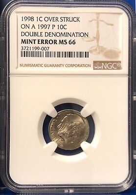 1998 Cent Overstruck on 1997 P Dime Dual Date Double Denomination Error NGC MS66