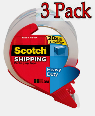 """3 PACK Scotch Shipping PACKING TAPE Clear Heavy Duty 1.88"""" W x 38.2 yd L 3850S"""