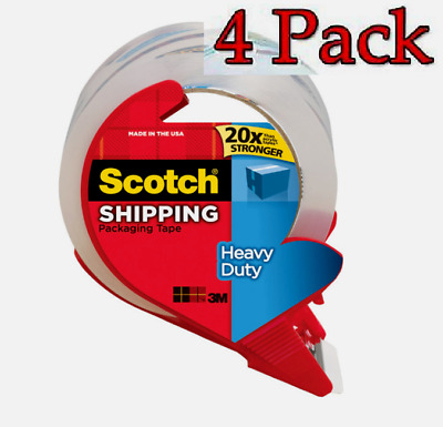 """4 PACK Scotch Shipping PACKING TAPE Clear Heavy Duty 1.88"""" W x 38.2 yd L 3850S"""