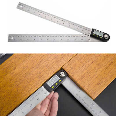 New 2-in-1 Digital Angle Finder Meter Protractor 0~360° Stainless Steel Ruler