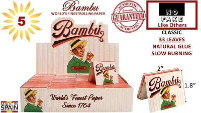 """Authentic Bambu Regular 1-1/4"""" Rolling Paper 33 Leaves/Pack 5 Booklets (Spain)"""
