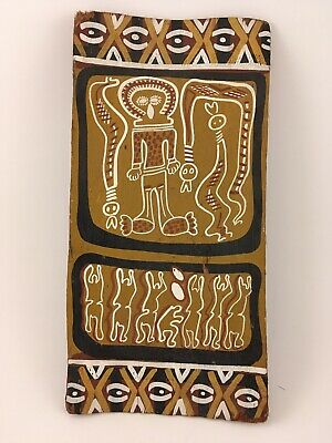 TWO FOR ONE! Aboriginal Bark Painting Authentic With  X Shape Boomerang Vintage