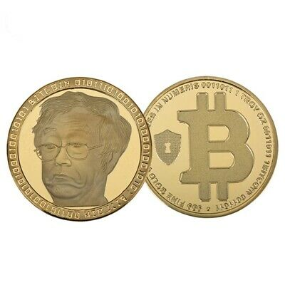 1Pc Bitcoin Commemorative Collectible Coin Bit Coin Gold Round Plated Physical