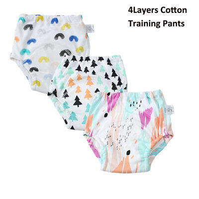 4Layers Cotton Baby Training Pants Washable Training Underwear for Boy Girl