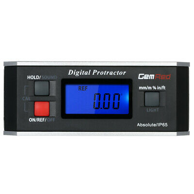 GemRed Level Box Angle Gauge Digital Angle Finder Inclinometer Magnet IP65 V1O8