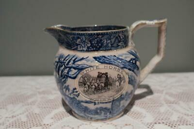Antique Shelley White Horse Whisky Blue & White Jug - Rare - c1910 - Poor Cond